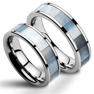 NWF1028 Wolframové snubní prsteny s perletí - pár