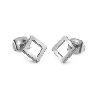 Ocelové geometrické náušnice čtverce