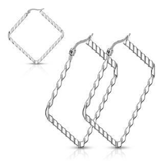 Ocelové náušnice - čtverce 40 mm