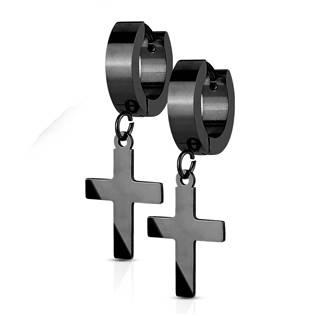 Ocelové náušnice - křížky černé