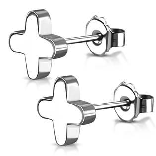 Ocelové náušnice - křížky zaoblené