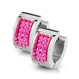 Ocelové náušnice - kroužky s růžovými zirkony