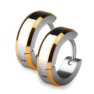 Ocelové náušnice - kroužky se zlacenými okraji