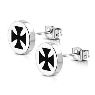 Ocelové náušnice - maltézské kříže