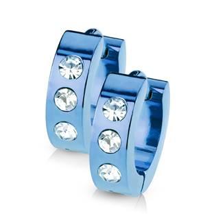 Ocelové náušnice - modré kroužky se zirkony