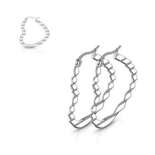 Ocelové náušnice - srdce 30 mm