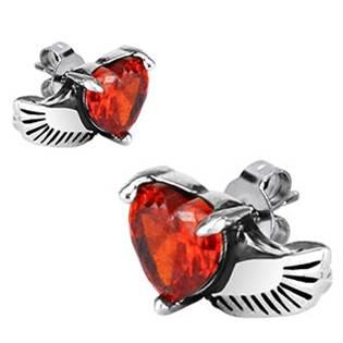 Ocelové náušnice červená srdíčka s křídlem