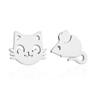 Ocelové náušnice kočka a myš