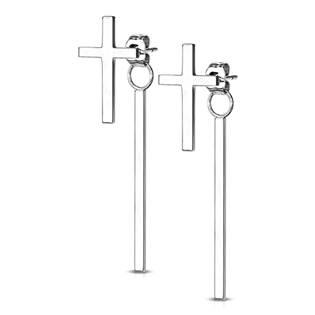Ocelové náušnice křížky