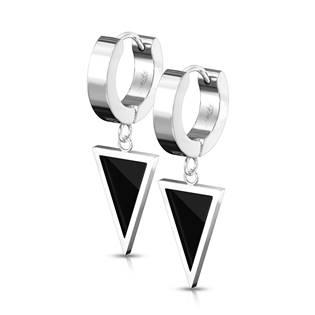 Ocelové náušnice kroužky s trojúhelníky