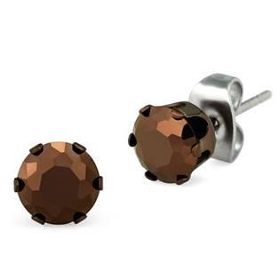 Ocelové náušnice s hnědými kameny