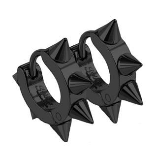 Ocelové náušnice s hroty, barva černá