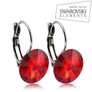 Ocelové náušnice s krystaly Swarovski® 12 mm, LIGHT SIAM