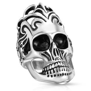 Ocelový motorkářský prsten - lebka