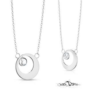 Ocelový náhrdelník kroužek se zirkonem