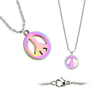 Ocelový náhrdelník peace - duhový