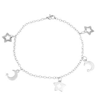 Ocelový náramek s hvězdami a měsíčky
