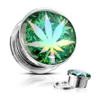 Ocelový plug list marihuany, průměr 10 mm