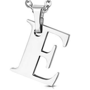 Ocelový přívěšek písmeno - iniciála E