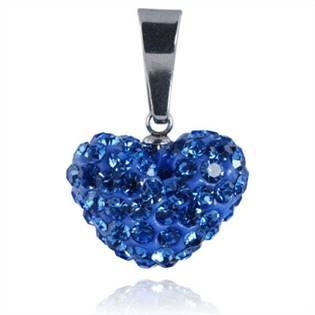 Ocelový přívěšek srdíčko - světle modré krystaly