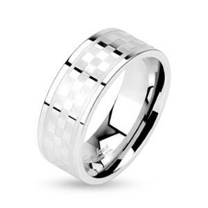 Ocelový prsten - kostkovaný dekor, šíře 8 mm