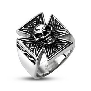 Ocelový prsten - kříž s lebkou OPR1309
