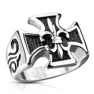 Ocelový prsten - kříž se skautskou lilií
