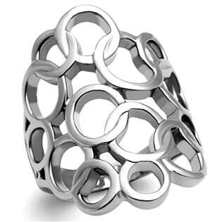 Ocelový prsten dekorovný kroužky