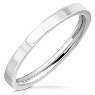 Ocelový prsten lesklý, šíře 2 mm