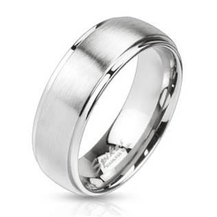 Ocelový prsten matný, šíře 6 mm