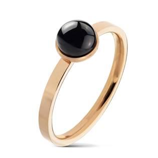 Ocelový prsten s černým achátem