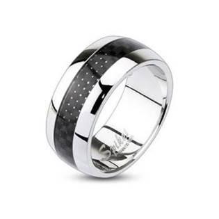 Ocelový prsten s karbonem, šíře 7 mm