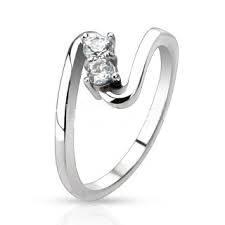 Ocelový prsten se 2ma zirkony, vel. 48