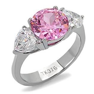 Ocelový prsten se růžovým kamenem