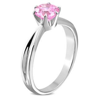 Ocelový prsten se růžovým zirkonem