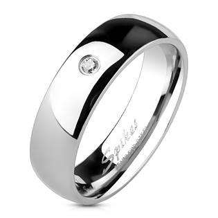 Ocelový prsten se zirkonem, šíře 6 mm