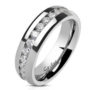 Ocelový prsten se zirkony, šíře 6 mm