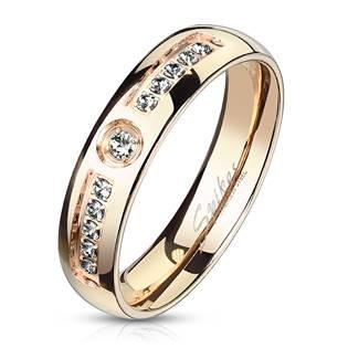 Ocelový prsten se zirkony, šíře 6 mm, vel. 52