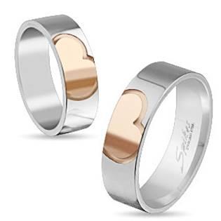 Ocelový prsten SRDCE, šíře 6 mm, vel. 68