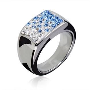 Ocelový prsten zdobený modrými krystaly, vel. 54
