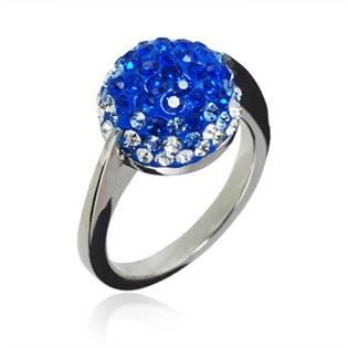 Ocelový prsten zdobený modrými krystaly, vel. 57