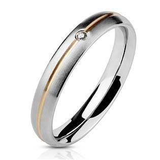 OPR0028 Dámský ocelový prsten matný se zirkonem