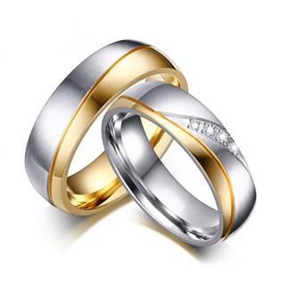 OPR0036-Zr Ocelové snubní prsteny - pár