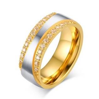 OPR0045 Dámský ocelový prsten se zirkony, šíře 7,5 mm