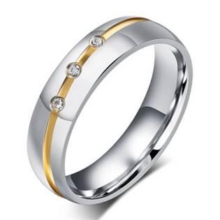 OPR0049 Dámský ocelový prsten se zirkony, šíře 6 mm