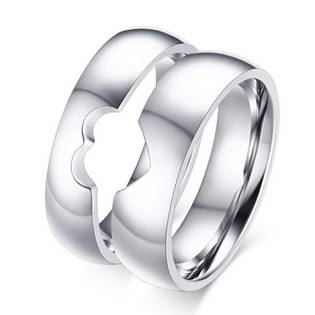 OPR0054 Dámský ocelový prsten - srdce, šíře 5 mm