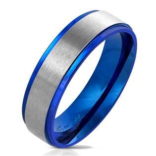 OPR0075 Pánský modrý ocelový prsten