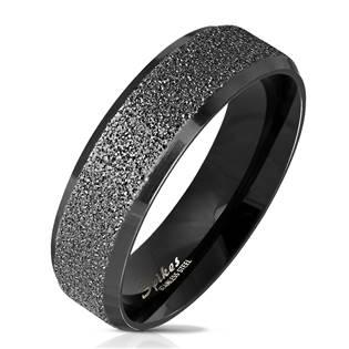 OPR0078 Dámský černý ocelový prsten