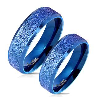 OPR0079 Modré ocelový snubní prsteny - pár