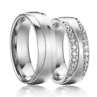 OPR0085 Ocelové snubní prsteny se zirkony - pár